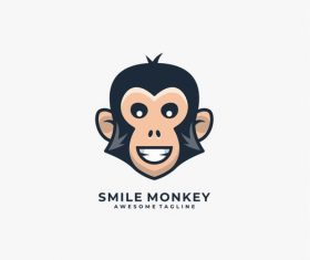 Smile monkey logos vector