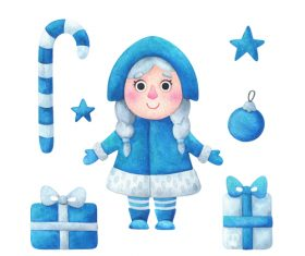 Snow maiden Christmas illustrations vector