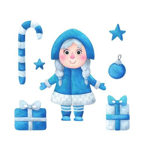 Snow maiden Christmas illustrations vector