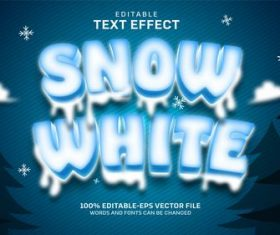 Snow white editable font effect text vector