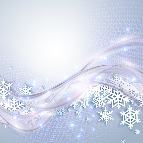 Snowflakes and streamers background vector