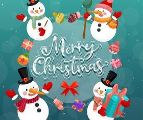 Snowman background christmas card vector