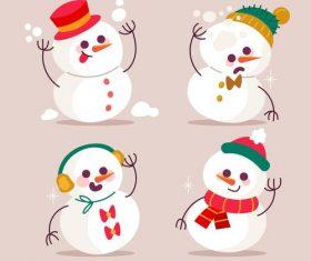 Snowman cartoon illustration vector