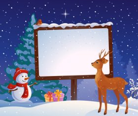 Snowman reindeer and billboard card vector