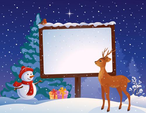 Snowman reindeer and billboard card vector