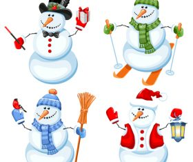Snowman vector in different poses