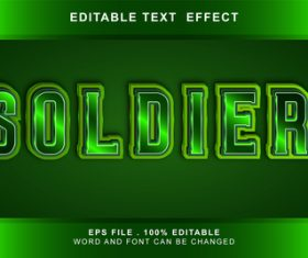 Soldier 3d editable text style effect vector