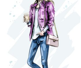 Street fashion woman hand drawn vector
