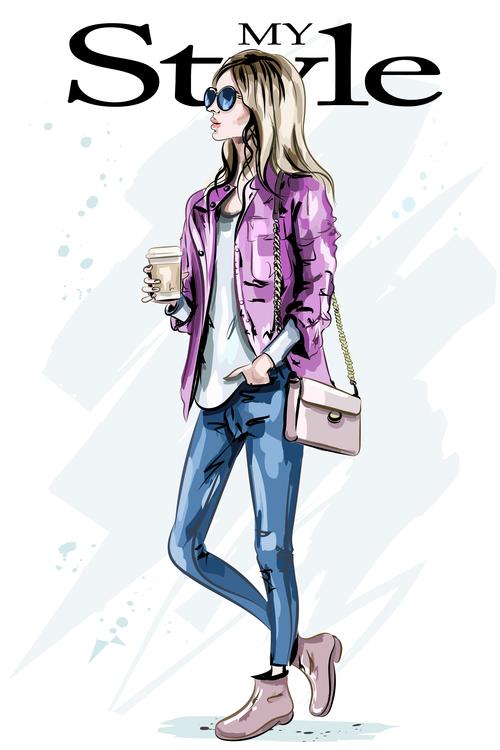 Street fashion woman hand drawn vector