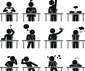 Student people pictograms vector