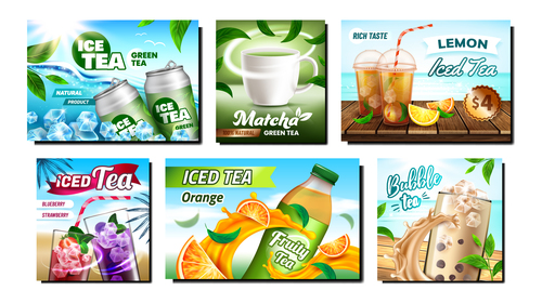 Summer heat relief iced drink poster vector