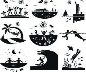 Summer vacation people pictograms vector