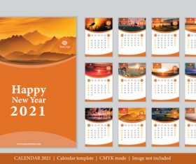 Sunrise and dusk background 2021 calendar vector