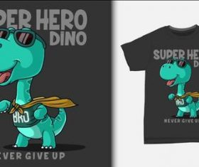 Super hero dino T-shirt printing design vector