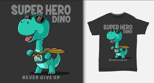 Super hero dino T shirt printing design vector
