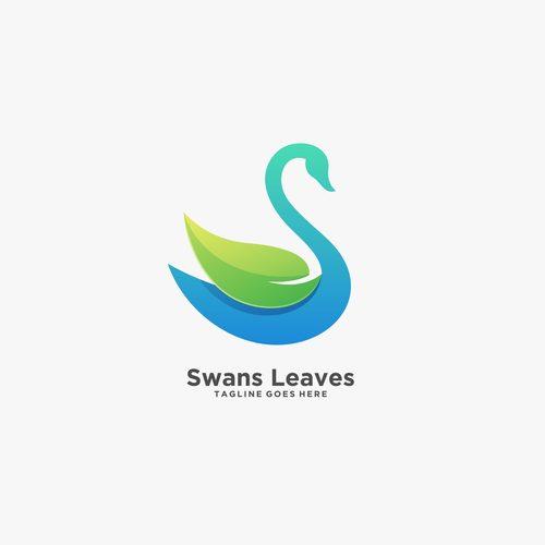 Swans leaves logos vector