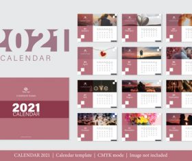 Sweet couple background 2021 calendar vector