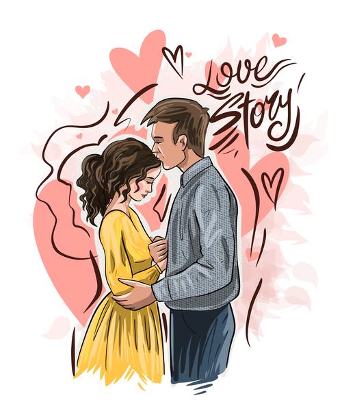 Sweet couple illustration vector