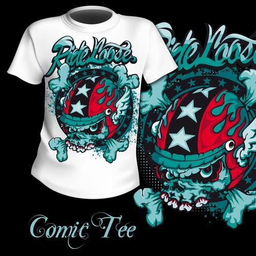 T shirt comic printing pattern design vector
