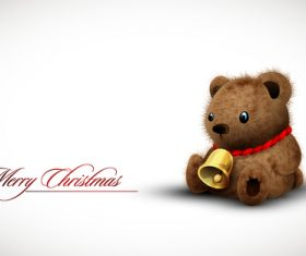 Teady bear Christmas card illustration vector