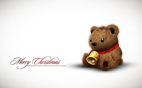 Teady bear Christmas card illustration vector