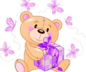 Teddy bear cartoon vector holding a gift