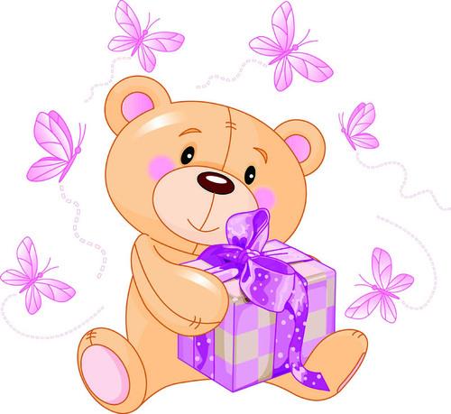 Teddy bear cartoon vector holding a gift