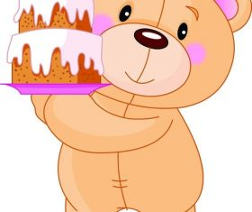 Teddy bear vector holding a cake
