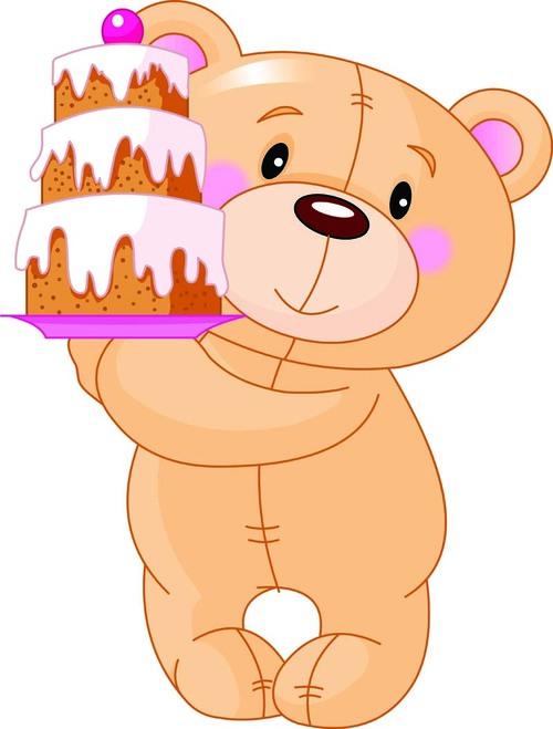 Teddy bear vector holding a cake