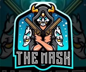 The mask esport mascot logo vector