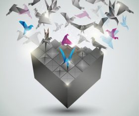 Thousand paper cranes 3d background vector