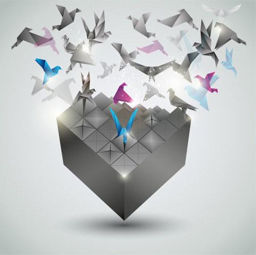 Thousand paper cranes 3d background vector