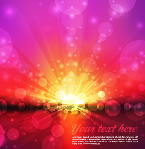Three color blur light dot background vector