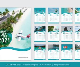 Tourist attractions background 2021 calendar vector