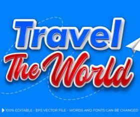 Travel 3d editable text style effect vector