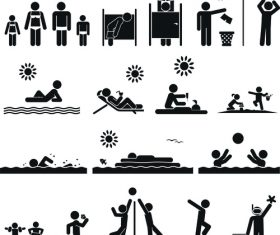 Travel vacation people pictograms vector