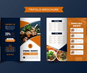 Trifold brochure food menu vector