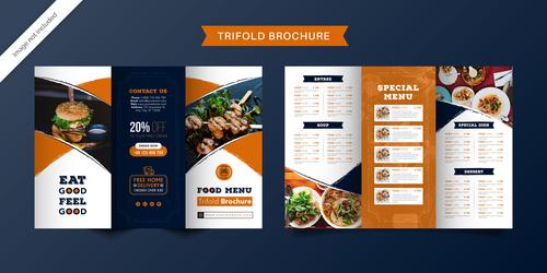 Trifold brochure food menu vector