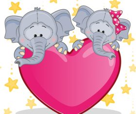 Two elephants and hearts vector