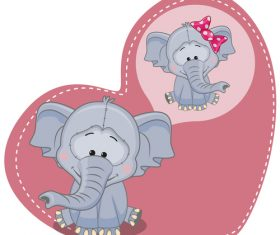 Two elephants in hearts background vector