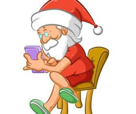 Using cellphone santa vector