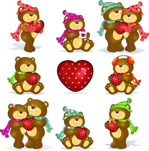 Valentine animal cartoon vector
