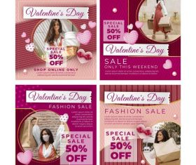 Valentines Day Instagram posts vector