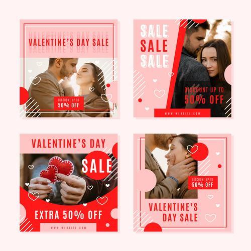 Valentines Day sales posts vector