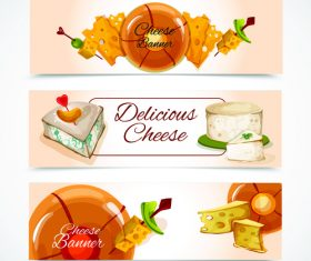 Various cheese banner vector