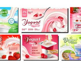Various flavors of yogurt poster vector