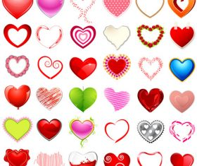 Various heart-shaped patterns vector