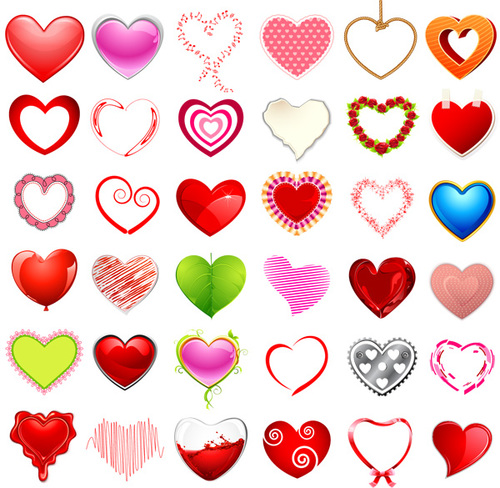 Various heart shaped patterns vector