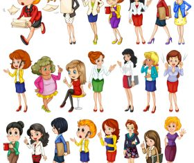 Various professional women cartoon vector