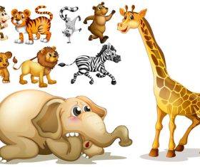 Various wild animals cartoon vector